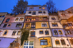 Hundertwasserhaus Wien, Österrike royaltyfria bilder