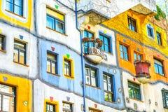 Hunderwasser byggnad i Wien Royaltyfria Foton