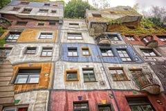 Hunderwasserhouse i Wien Arkivbilder