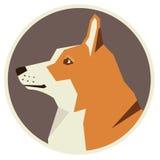 Hundesammlung Pembroke Welsh Corgi Geometric-Artikone rund Lizenzfreie Stockbilder