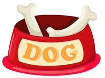 Hundeschüssel mit dem großen Knochen Stockfotografie