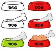 Hundeschüssel mit Tierfutter-und Knochen-Zeichnungs-übersichtlichem Design stellte 2 ein ansammlung lizenzfreie abbildung