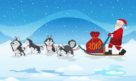 Hundeschlittenteam und chrismas Rottasche Weiße Schneeflocken auf einem blauen Hintergrund Lizenzfreie Stockfotografie