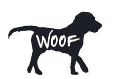 Hundeschusszitatschwarzschattenbild auf Weiß, Vektor ENV 10 stockfoto