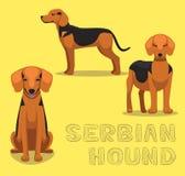 Hundeserbische Jagdhund-Karikatur-Vektor-Illustration lizenzfreie abbildung