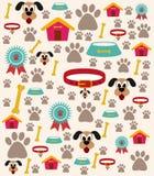 Hundesorgfalt-Illustration mit verschiedenen Ikonen Stockbild