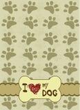 Hundetatzen mit Platz für den Text Stockfoto