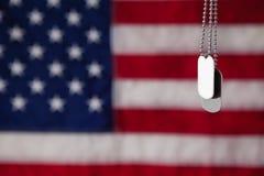 Hundetikett som hänger mot amerikanska flagganbakgrund Royaltyfri Fotografi