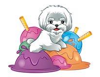 Hundewelpe in der Eiscreme Stockbild