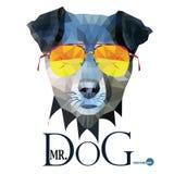 HundHipsterman, herr Dog Terrier i exponeringsglas, stående för illustration för modeblick djur i polygonal stil som isoleras på Arkivfoto