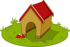 Hundhus och bunke med en benvektorillustration Stock Illustrationer