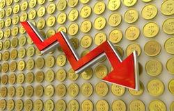 Hundimiento de la moneda - dólar Foto de archivo libre de regalías