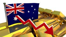 Hundimiento de la moneda - dólar australiano Foto de archivo libre de regalías