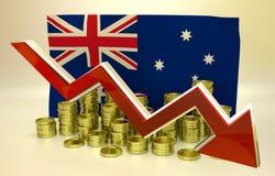 Hundimiento de la moneda - dólar australiano Imagenes de archivo