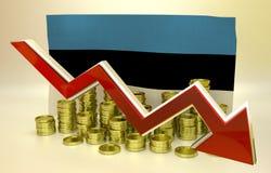 Hundimiento de la moneda - economía estonia Imagen de archivo libre de regalías