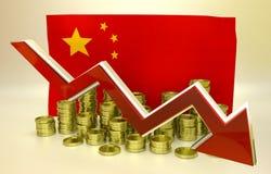 Hundimiento de la moneda - yuan chino Imagen de archivo libre de regalías