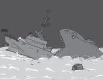 Hundimiento del buque de guerra Imágenes de archivo libres de regalías