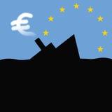 Hundir-expidir-de-euro Fotografía de archivo