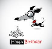 Hundkapplöpning för lycklig födelsedag stock illustrationer