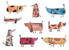 Hundkapplöpning tecknad filmtecken Arkivbild