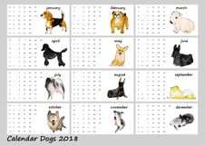 Hundkapplöpningen Calendar 2018 Stock Illustrationer