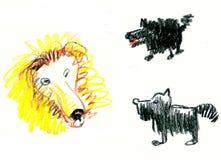Hundkapplöpningen skäller för ett lejon Arkivfoton