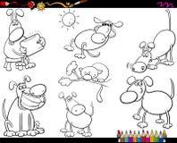 Hundkapplöpningen ställde in tecknad filmfärgläggningsidan royaltyfri illustrationer