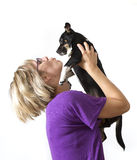 hundkvinnabarn Royaltyfri Bild