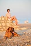 hundkvinnabarn Royaltyfri Fotografi