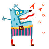Hundmonster, i att skrika för flåsanden royaltyfri illustrationer