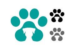 Hundpawprint med hundkonturn inom vektor illustrationer