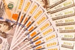 Hundra amerikanska dollar sedlar Royaltyfri Bild