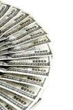 Hundra amerikanska kontanta pengar för dollarräkningar Arkivfoto