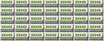 Hundra bakgrund för dollarräkning 100 dollar Arkivbilder