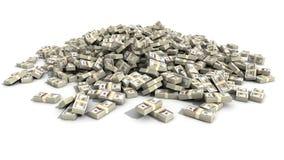 Hundra dollar Bill Bundles i en hög Arkivbild