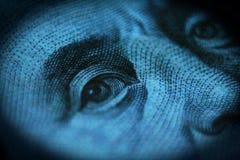 Hundra dollar Bill Close Up Of Benjamin Franklin High Quality royaltyfria foton