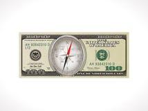 Hundra dollar - Förenta staternavaluta - rätt riktning som investerar pengarbegrepp vektor illustrationer