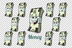 Hundra dollar kontant samling för emballagesinnesrörelsetecken vektor illustrationer