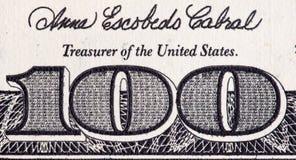 Hundra dollar närbild av Amerika som en bakgrund Royaltyfri Fotografi