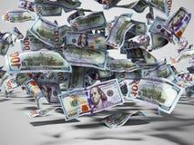 Hundra dollar sedlar som faller till jord3den, framför på grå bakgrund med skugga vektor illustrationer