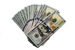 Hundra dollar sedlar som isoleras på vit bakgrund royaltyfri bild