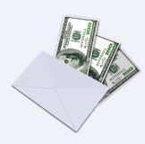 Hundra dollar under kuvert Royaltyfria Bilder
