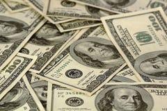 Hundra dollarbills Arkivbild