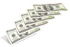 Hundra dollarräkningar som flyger från botten upp Royaltyfri Bild