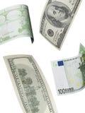 Hundra euro- och dollarräkningcollage som isoleras på vit Arkivfoton