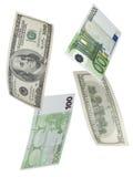 Hundra euro- och dollarräkningcollage som isoleras på vit Arkivfoto