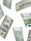 Hundra euro- och dollarräkningcollage som isoleras på vit Arkivbild