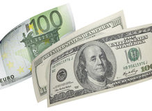 Hundra euro- och dollarräkningcollage som isoleras på vit Royaltyfri Foto