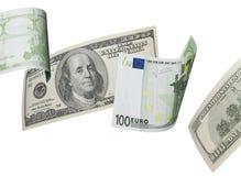 Hundra euro- och dollarräkningcollage som isoleras på vit Arkivbilder