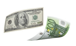 Hundra euro- och dollarräkningcollage som isoleras på vit Royaltyfri Fotografi